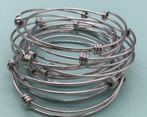 Bulk Lot 50 pcs Stainless Steel Adjustable Wire Bangle Bracelet 3 Loops Wrap Expandable Silver Tone Only 90 cents each bangle
