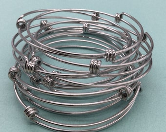 Bulk Lot 50 pcs Stainless Steel Adjustable Wire Bangle Bracelet 3 Loops Wrap Silver Tone Only 90 cents each bangle