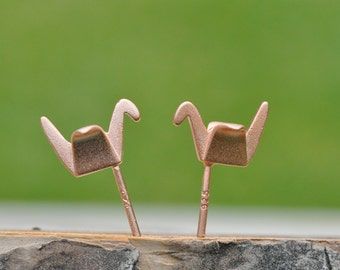 Matte Rose Gold Origami Crane Sterling Silver Crane Earrings; Origami Jewelry; Origami Crane Earrings; Crane; Sterling Silver 925 Earrings