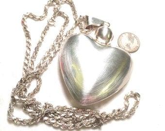 Designer 925 sterling silver larger heart pendant and necklace