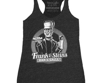 Frankenstein Shirt - Womens Frankenstein Tank Top - Frank and Steins Bar and Grill Hand Screen Printed tank top.