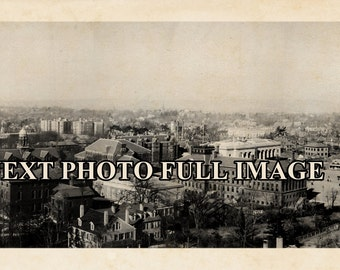 "1919 Harvard University & Cambridge MA Vintage Panoramic Photograph 7"" x 39"" Long"
