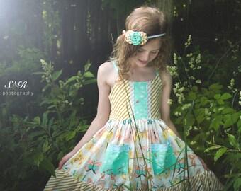 Winged dress, girls boutique dress, butterfly dress, girls summer dress, boutique dress, girls ruffle dress, girls gold dress