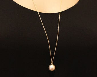 Simple pearl necklace/Long necklace/Pearl necklace/statement necklace/simple necklace/wedding gift/elegant jewelry/gift for woman