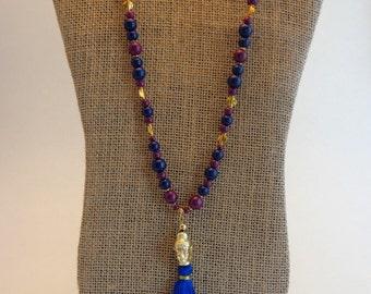 Tassel Necklace. Blue Tassel Necklace. Hindu Tassel Necklace. Beaded Necklace. Ready to Ship.