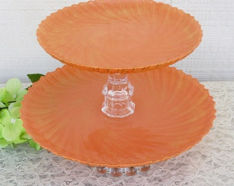 Wedding Orange Sherbet and Gold Shabby Chic Vintage Glass Hand Painted Cake or Cupcake Stand in One Two or Three Tiers for Wedding or Party