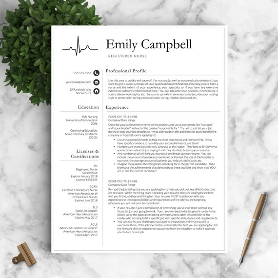 15 Clinical Experience On Resume: Nurse Resume Template For Word & Pages / By LandedDesignStudio