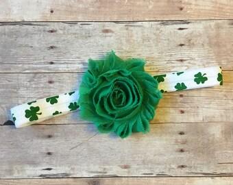 St Patrick's Day baby girl headband, Newborn headband, Toddler headband, Shabby flower headband, green or white flower headband