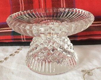 Pretty, Pressed Glass Candle Holder. Mid Century.