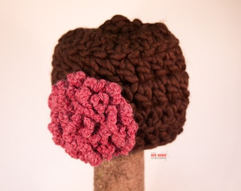 Chunky Chocolate Toddler Hat w/ Flower