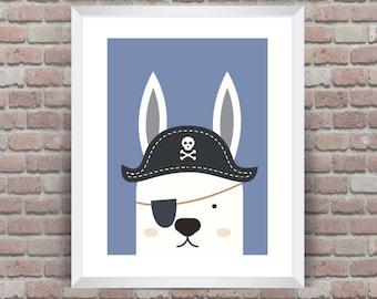 Pirate Animal Wall Print- Personalised Boys/Kids nursery- Set of 2
