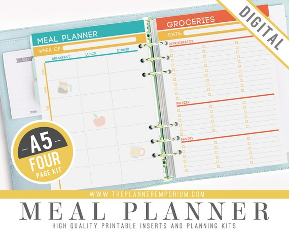 a5 meal planner inserts fits kikki k large filofax a5 printable