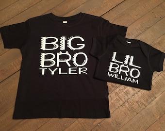 Personalized Big Bro Lil Bro Shirt Set