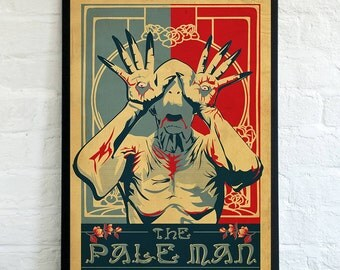 The Pale Man, Poster Illustration from the movie Pans Labyrinth by Guillermo del Toro - fantasy, horror, fan ,gift, poster, for him, for her
