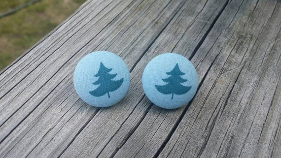 Button Earrings, Tree earrings, Costume Jewelry, Fabric Earrings, Round Earrings, Nickel Free Earrings, Nature Earrings, Blue earrings