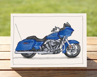 "Motorcycle Gift Card Harley Davidson Road Glide | A6 - 6"" x 4""  / 103mm x 147mm  
