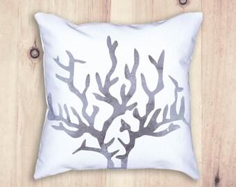 Accent Pillow, Beach Pillow, Beach House Decor, Coral Pillow, Throw Pillows, Gray Pillow, Pillow Covers, Pillows, Watercolor Pillow