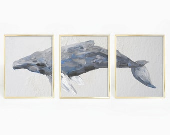 Set of 3 Prints, Whale Watercolor, Triptych Set, Nautical Bedroom Art, Humpback Print Nautical Decor Humpback Whale Art, Mother Gift Ideas