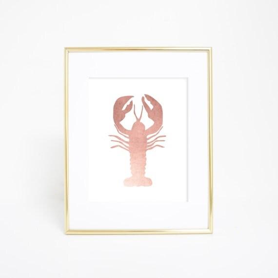 Wall Decor, Rose Gold Decor, Lobster Artwork, Lobster Art Print, Nautical Art, Nautical Artwork, Beach Prints, Beach Decor, Rose Gold Prints