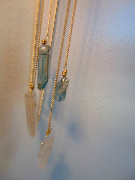 Crystal Quatrz Lariat Necklace