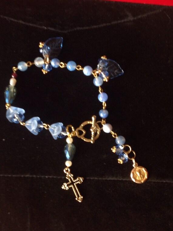 HEY MARY Rosary bracelet hand crafted Semi precious Crackle stone garnet pearl garland of flowers  rosary prayer  bracelet