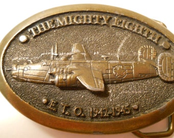 1982 The Mighty Eighth Brass Buckle, Heritage Buckle, E.T.O. 1942-1945, WWII Commemorative Buckle