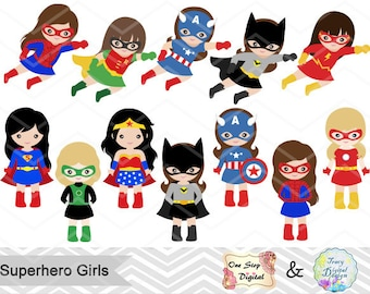 27 Little Girl Superheros Digital Clip Art, Girls Superhero Clipart, Superhero Party, Super Hero Clip Art, Super Hero Girls Clipart, 0186
