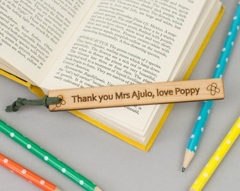 Teacher Gift - unusual Thank you Teacher Bookmark - personalised gift for teachers - customised end of term present