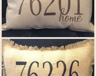 Zip Code Pillow - College gift - Wedding Gift - Personalized - Custom Made