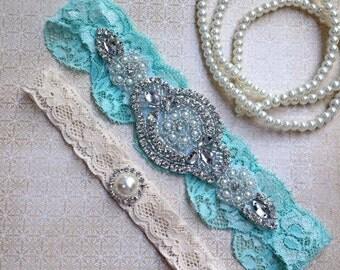 bridal garter belt, Aqua wedding garter set, wedding garter set, something blue garter, vintage lace garter, rhinestone garter, Mint Garter