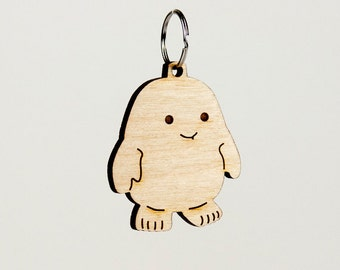 Doctor Who Adipose Keychain - Dr. Who Carved Wood Key Ring - Adipose Wooden Engraved Charm
