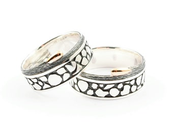 Wedding rings sterling silver and gold handmade