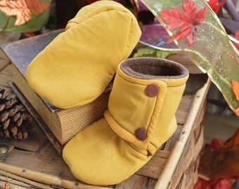 Baby Booties Slipper Stay On, Goldenrod Yellow Mustard Kam Snaps