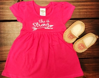 She is Strong Proverbs 31:25 Arrow Baby Short-Sleeve Dress & Pair of Moccasins / Deeper Waters