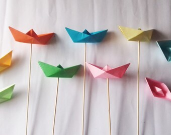 Set of 12 pieces of Origami, boats, cakes, Cupcake Toppers