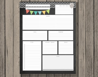 Birthday party planner printable.  Includes all details needed to plan a birthday party on one page.  Neutral colors for boy or girl.