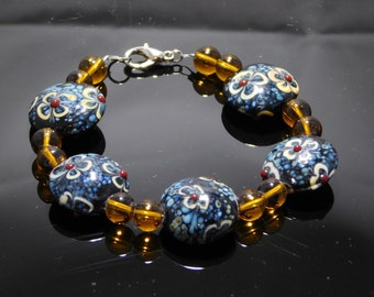 Blue and Amber, Lampwork Glass, beaded Bracelet, handcrafted, great with jeans