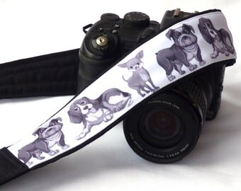 Dogs Camera Strap. Black and White Camera Strap. Padded Camera Strap. Dogs accessories. DSLR Camera Strap. Canon, Nikon Camera Strap. Photo