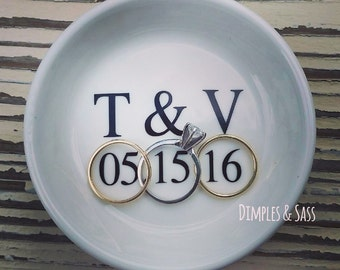 Personalized Ring Dish | Engagement Ring Dish | Mr and Mrs | Bride to Be | Engagement Gift | Custom Ring Dish | Kiss the Cook