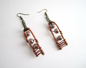 Earrings copper color & beads