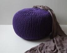 knitted pouf,ottoman,footstool,decor&housewares,dark purple,floor pillow,seat,living room,knitting pouf,crochet pouf, cotton cord,
