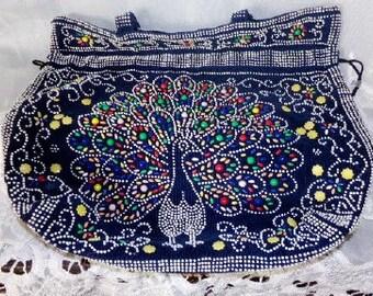 FREE SHIPPING...Boho Beaded Handbag Shoulderbag Vintage 70's Hobo Hippie Tote Bag Purse