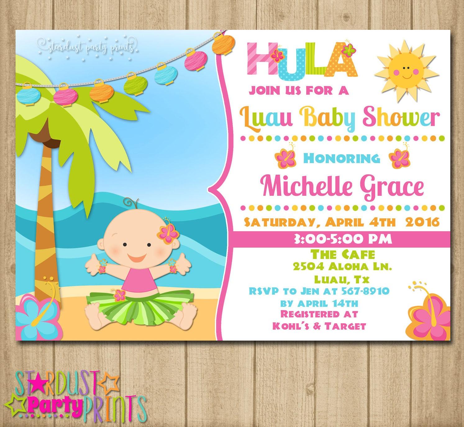 luau baby shower invitation hawaian baby shower invitation