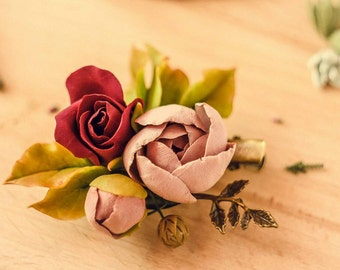 Groom boutonniere, boutonniere peony, brooch peony, shabby brooch, shabby chic boutonniere, wedding boutonniere