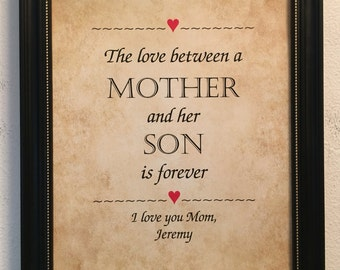 Gift for Mom, From Son, Mother's Day Gift, Personalized, Framed Print, Love Between A Mother And Her Son, Birthday, Christmas, Gift for Wife