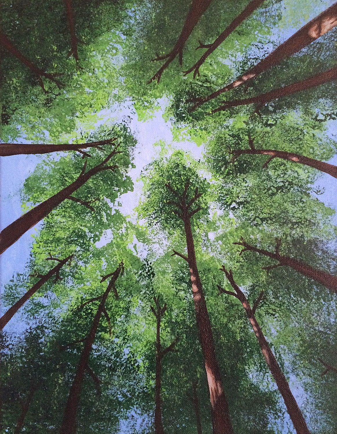 Blue Green Redwood Tree Painting 11x14 Original Acrylic Redwood Tree Painting
