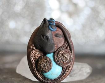 She-Wolf Medicine, La Loba's spirit, Grounding Reiki polymer clay necklace