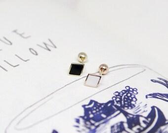 Delicate 14K Gold black rhombus Earrings,White rhombus Screw Back Earrings,Dainty Stud,Tiny gold earrings,Helix Piercing,Geometric earrings