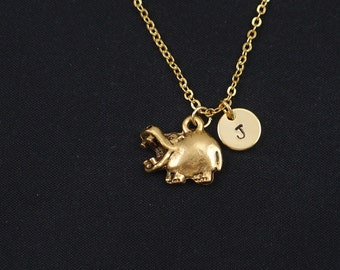 initial necklace, hippo necklace, gold hippopotamus charm, hippo pendant, animal necklace, kid jewelry, zoo necklace, birthday gift for her