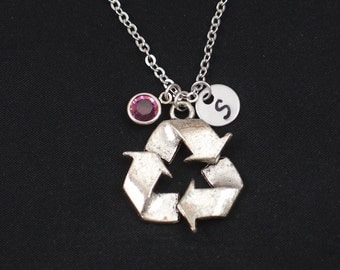 initial necklace, recycle symbol necklace, birthstone necklace, silver recycle symbol charm, save Mother Earth, Earth Day jewelry